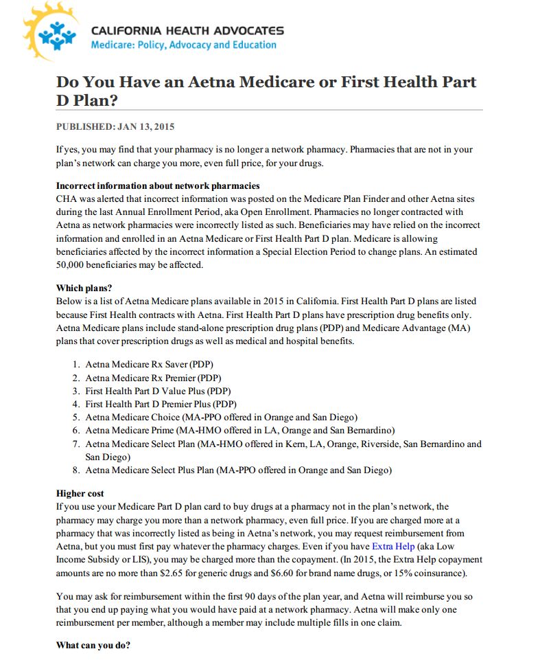 Do You Have an Aetna Medicare or First Health Part D Plan?